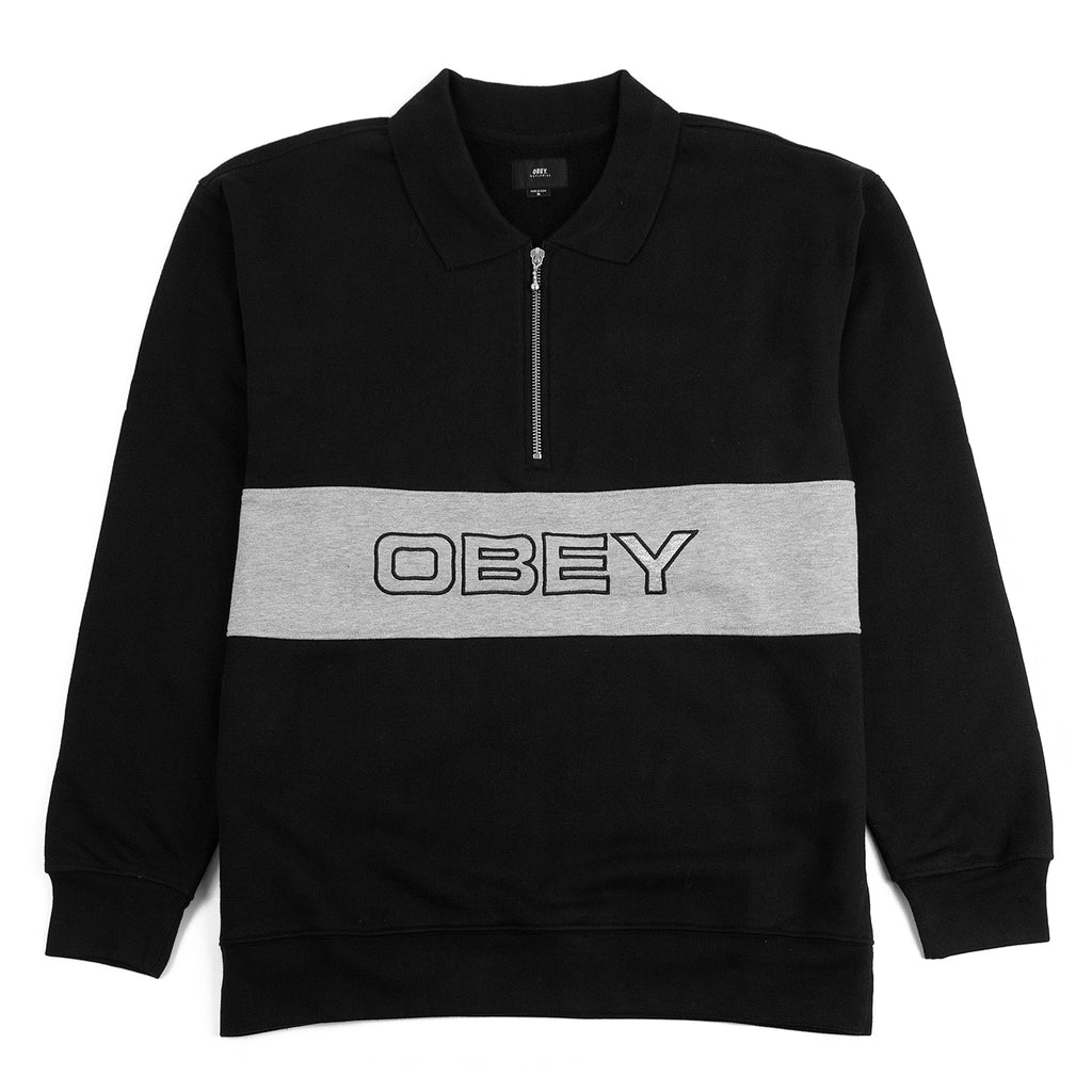 Obey Clothing Baron Zip Crew Polo in Black Multi