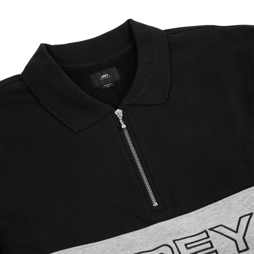 Obey Clothing Baron Zip Crew Polo in Black Multi - Detail