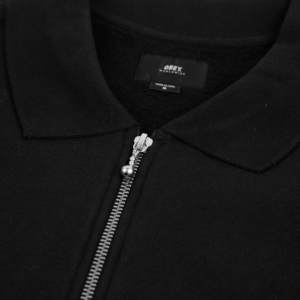 Obey Clothing Baron Zip Crew Polo in Black Multi - Zip
