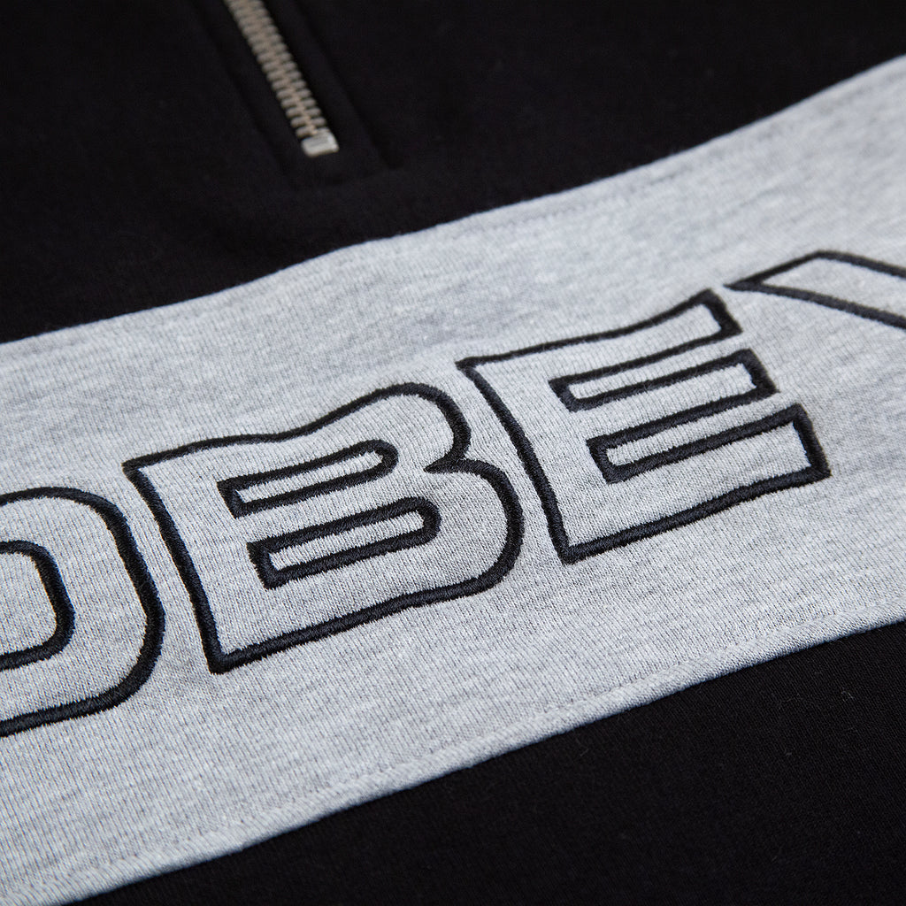Obey Clothing Baron Zip Crew Polo in Black Multi - Embroidery