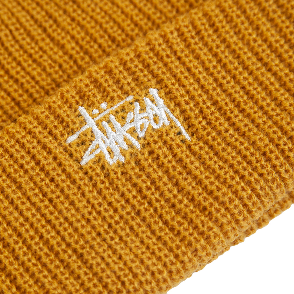Stussy Basic Cuff Beanie in Mustard - Embroidery