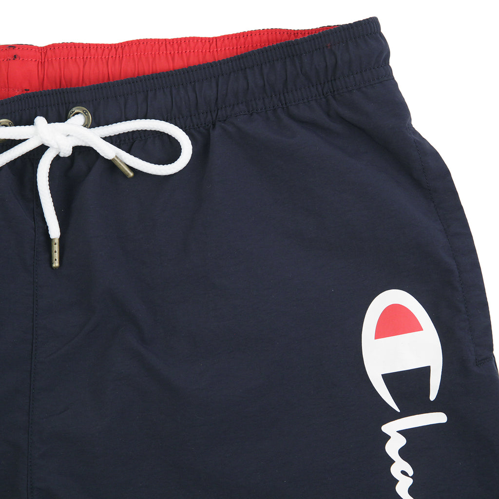 Champion Reverse Weave Script Logo Beach Shorts in Navy / Red - Detail