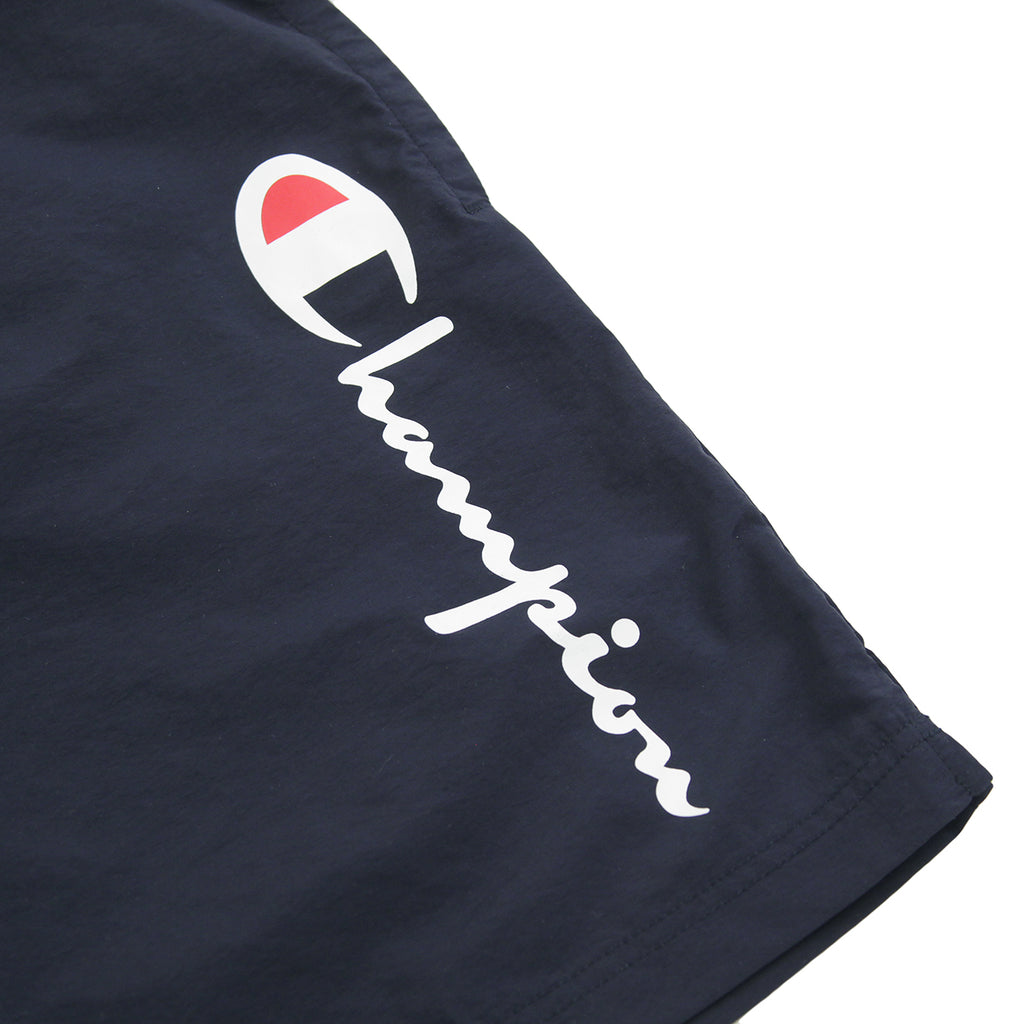 Champion Reverse Weave Script Logo Beach Shorts in Navy / Red - Logo
