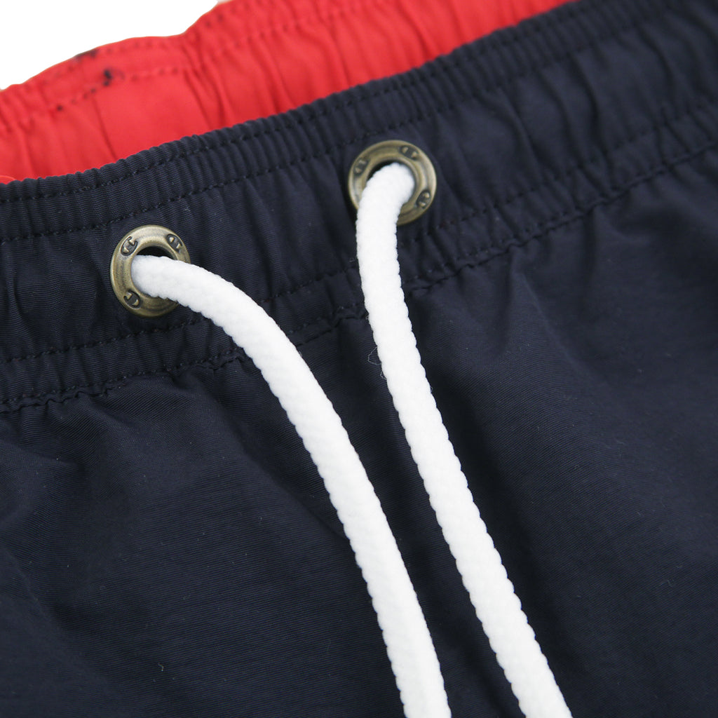 Champion Reverse Weave Script Logo Beach Shorts in Navy / Red - Eyelets