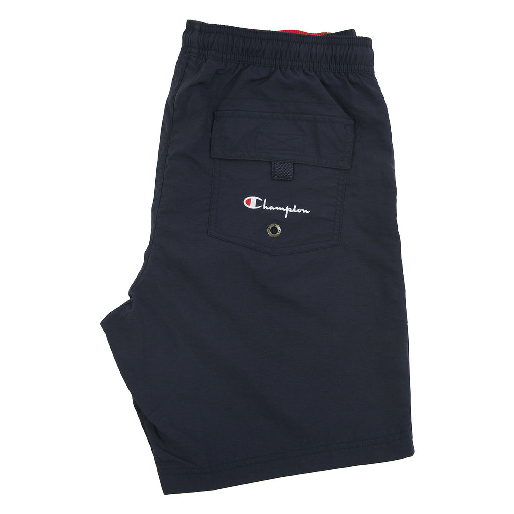 Champion Reverse Weave Script Logo Beach Shorts in Navy / Red - Back