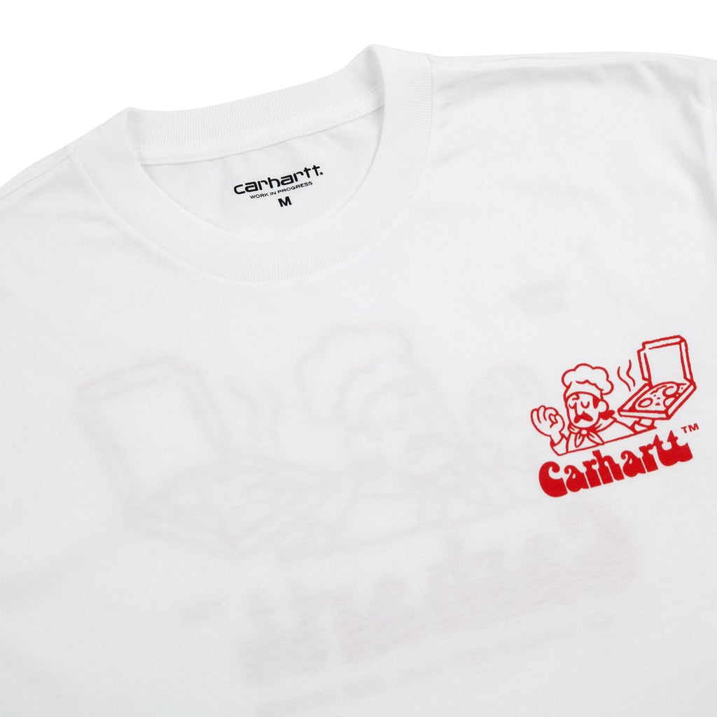 Carhartt WIP Bene T Shirt in White / Red - Detail