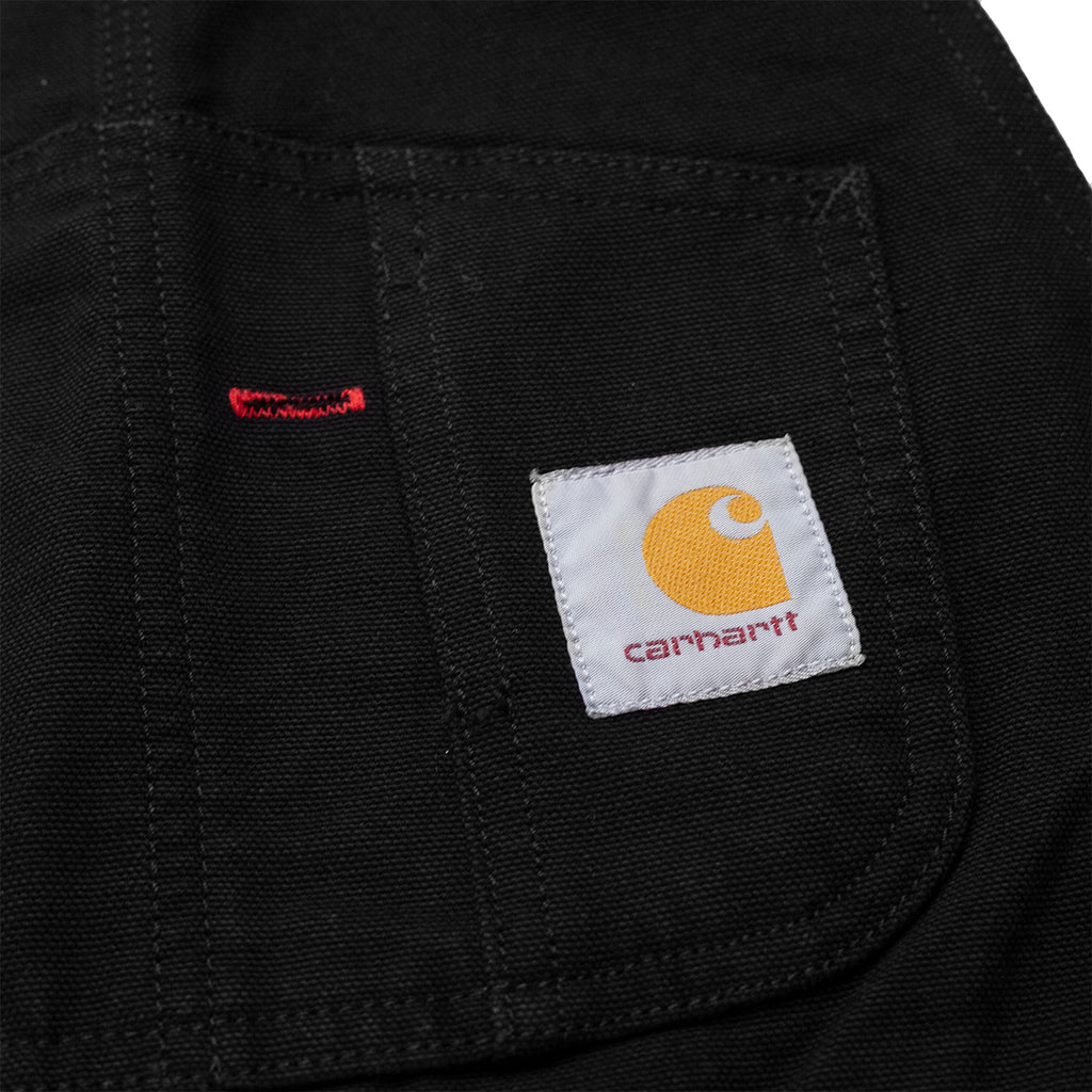 Carhartt WIP Bib Overall in Black Rinsed - Square Labels