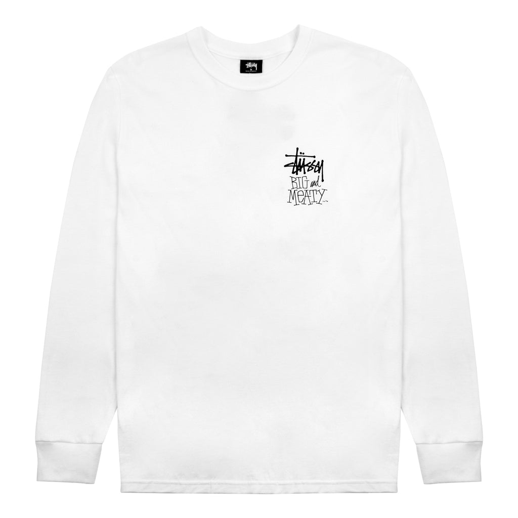 Stussy L/S Big & Meaty T Shirt in White - Front