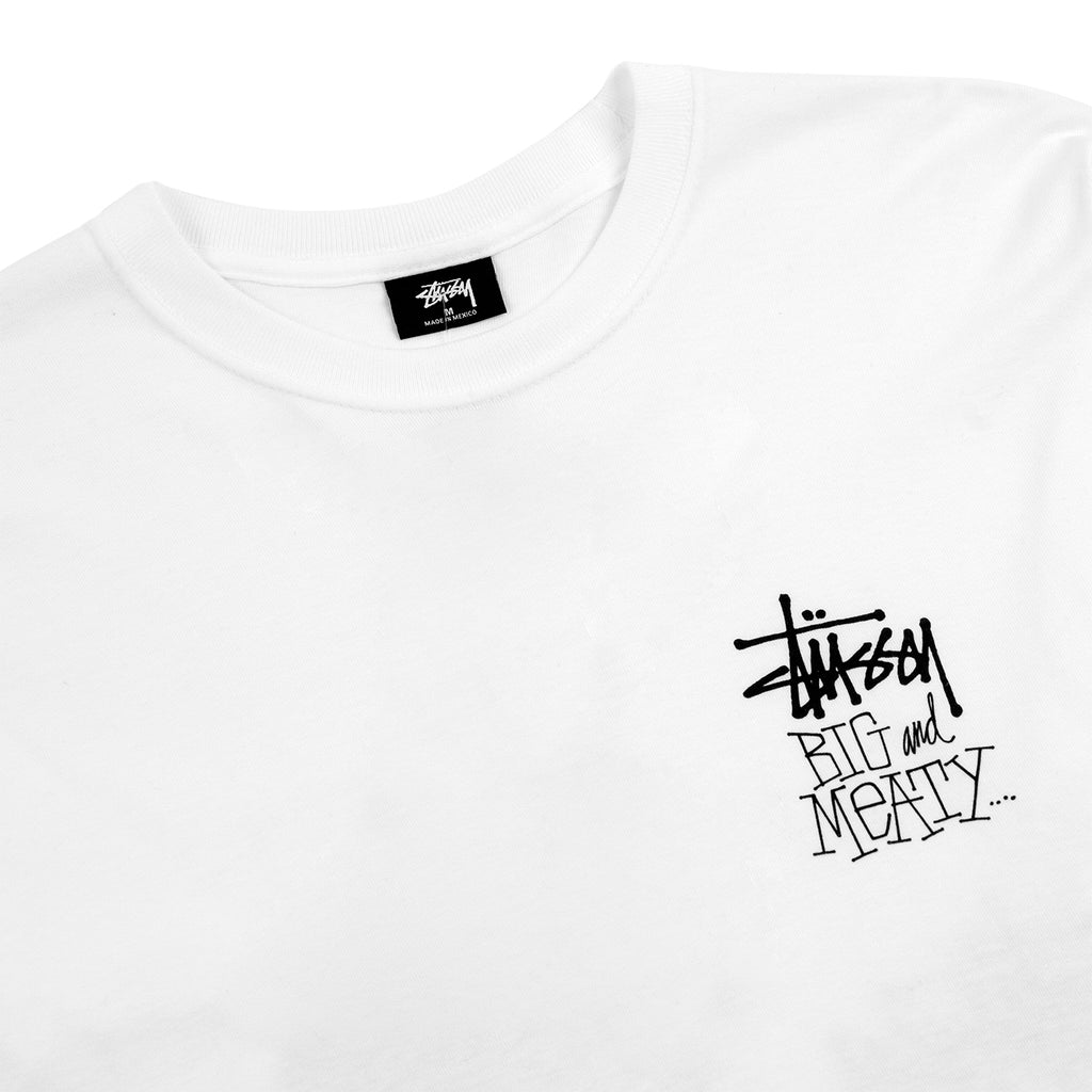 Stussy L/S Big & Meaty T Shirt in White - Detail