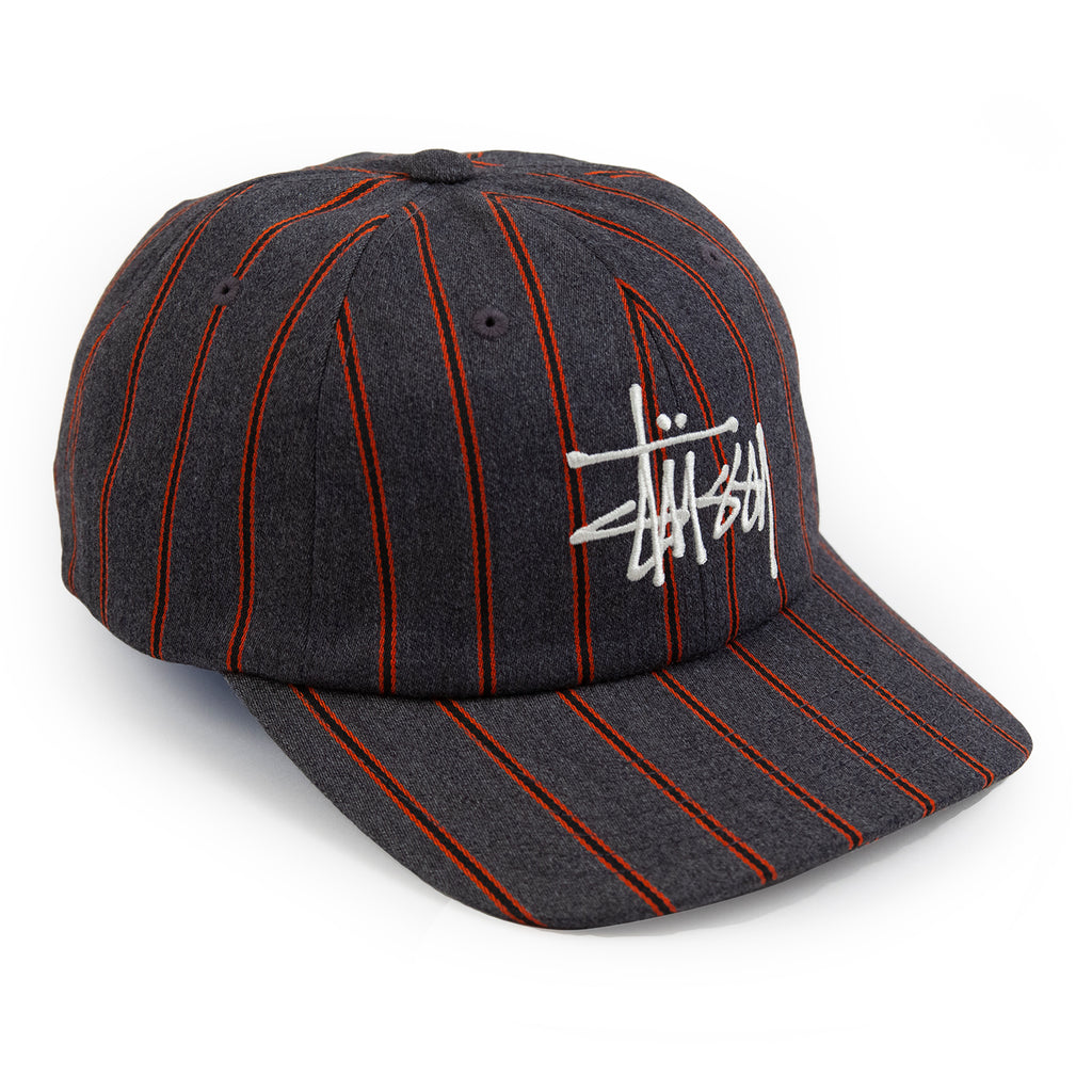 Stussy Big Logo Striped Low Pro Cap in Charcoal