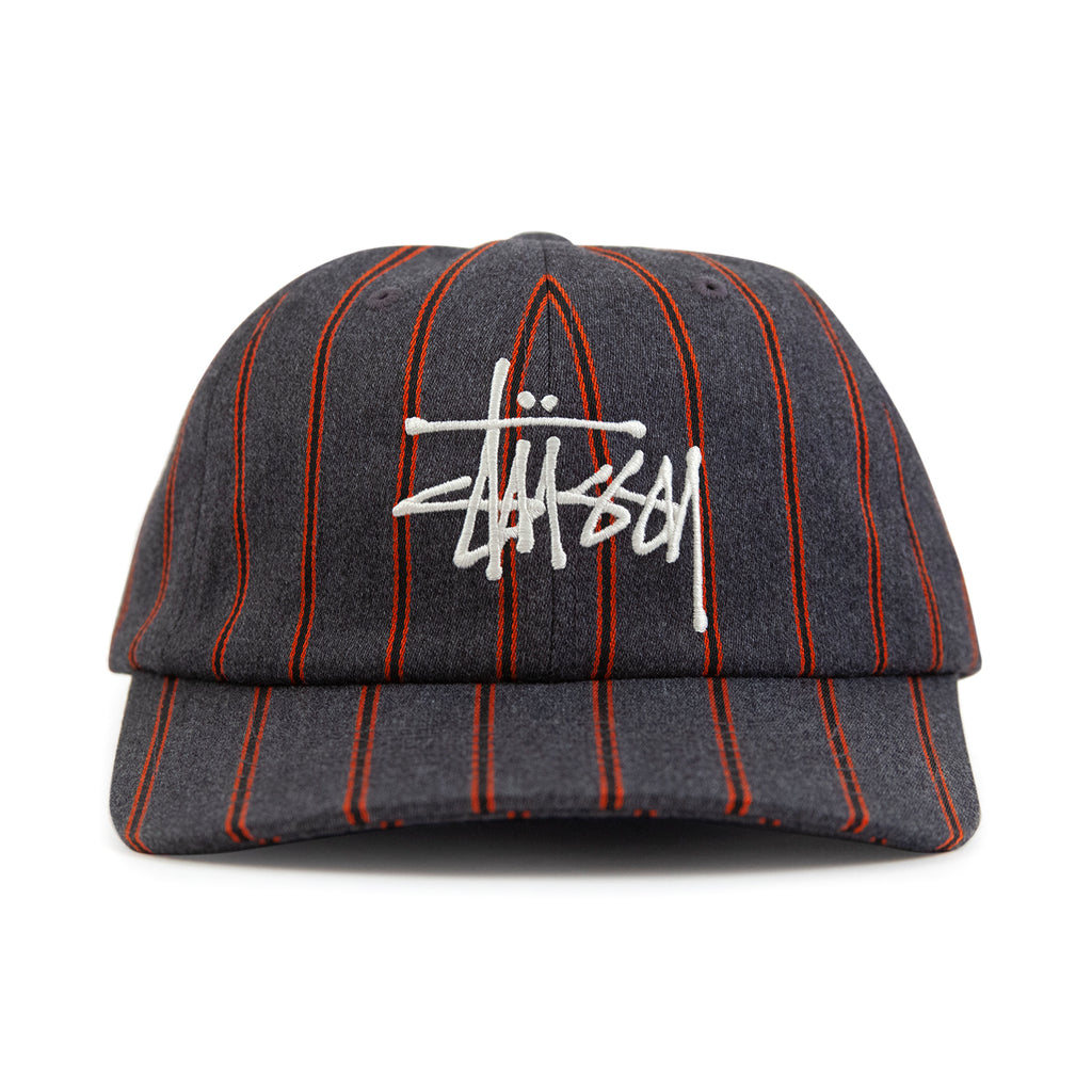 Stussy Big Logo Striped Low Pro Cap in Charcoal - Front