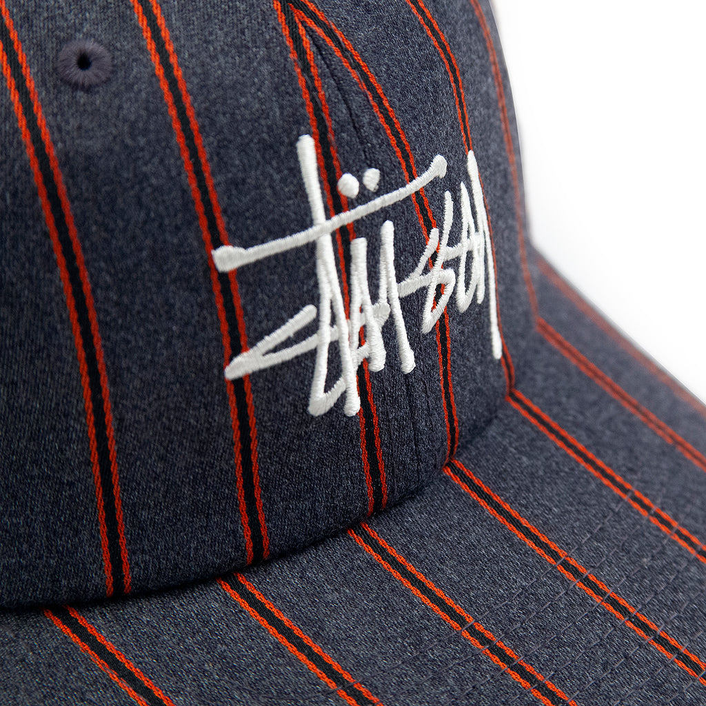Stussy Big Logo Striped Low Pro Cap in Charcoal - Logo