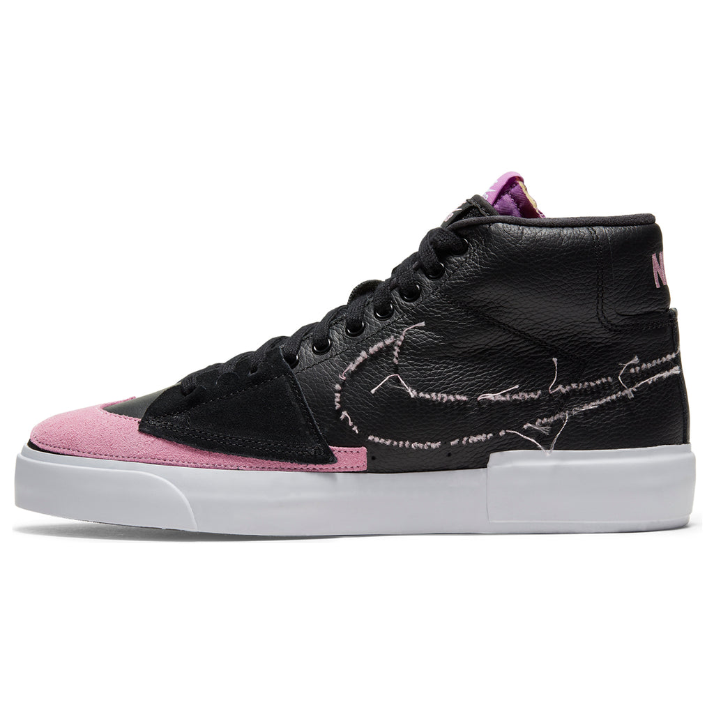 Nike SB Zoom Blazer Mid Edge Shoes in Black / Pink Rise - White - Purple Nebula - Side 2