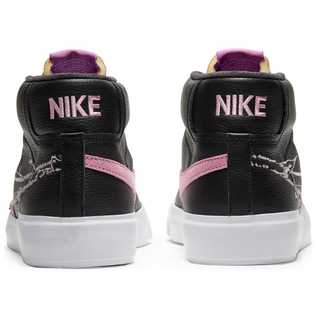 Nike SB Zoom Blazer Mid Edge Shoes in Black / Pink Rise - White - Purple Nebula - Heel