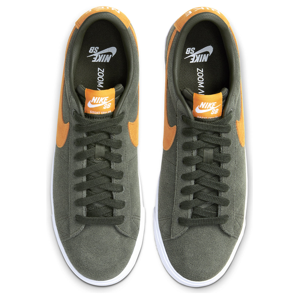 Nike SB Zoom Blazer Low GT Shoes in Sequoia / Kumquat - White - Gum Light Brown - Birdseye