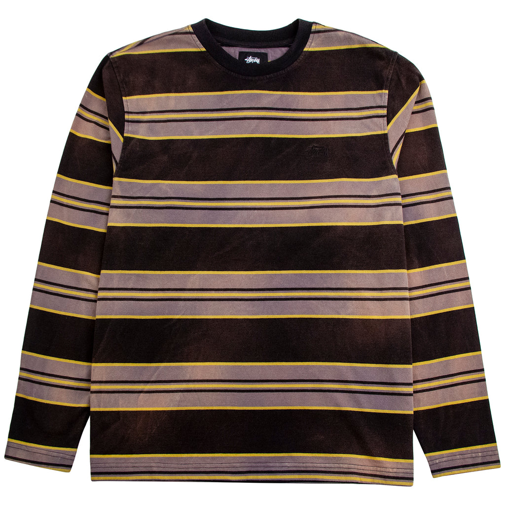 Stussy L/S Bleach Striped Crew T Shirt in Black
