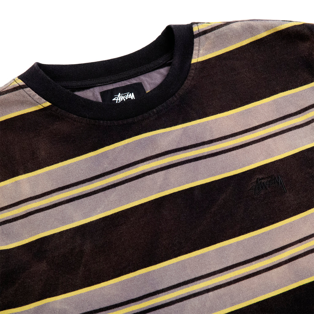 Stussy L/S Bleach Striped Crew T Shirt - Black