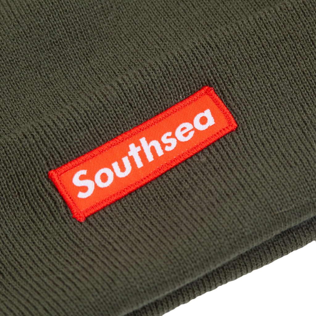 "Bored of Southsea ""Southsea"" Beanie in Olive - Detail"