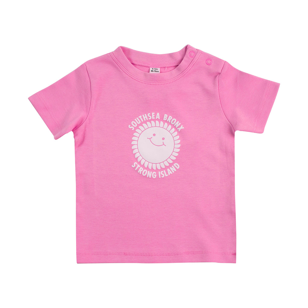 Southsea Bronx Strong Island Baby T Shirt in Bubblegum Pink