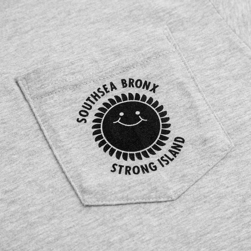 Southsea Bronx Strong Island Pocket T Shirt Grey Heather - Pocket detail