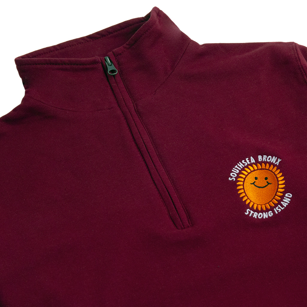 Southsea Bronx Strong Island Embroidered Quarter Zip Sweatshirt in Burgundy