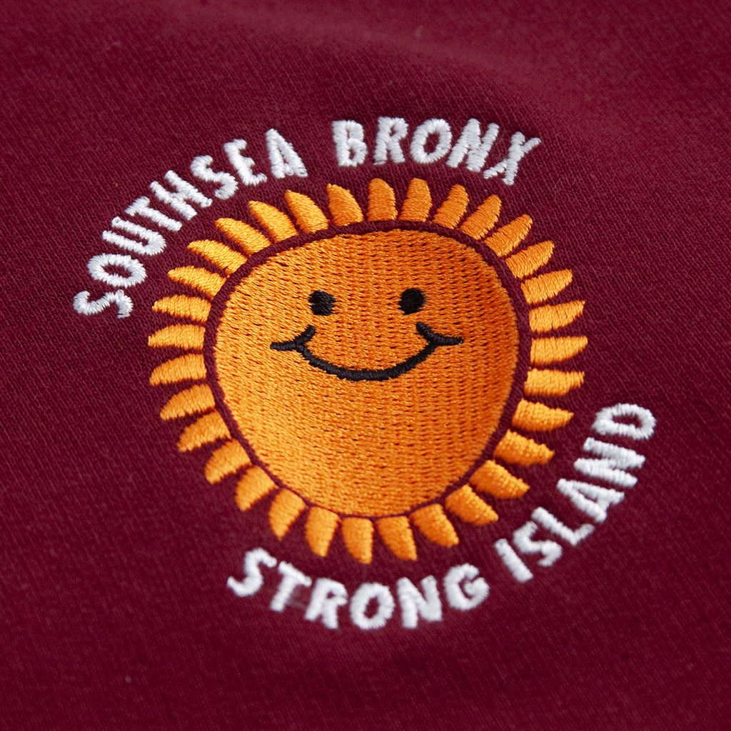 Southsea Bronx Strong Island Embroidered Quarter Zip Sweatshirt in Burgundy - Embroidery