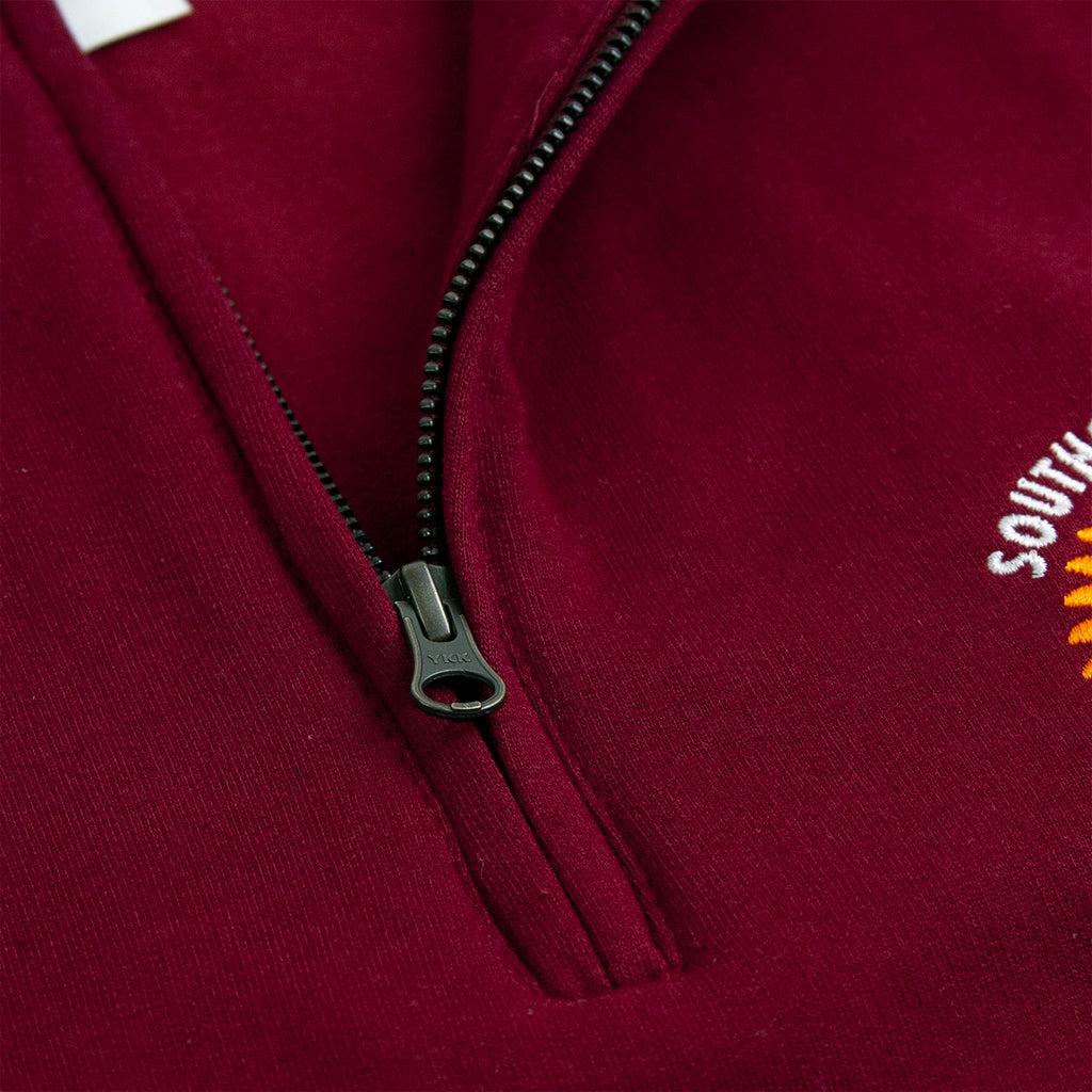 Southsea Bronx Strong Island Embroidered Quarter Zip Sweatshirt in Burgundy - Zip