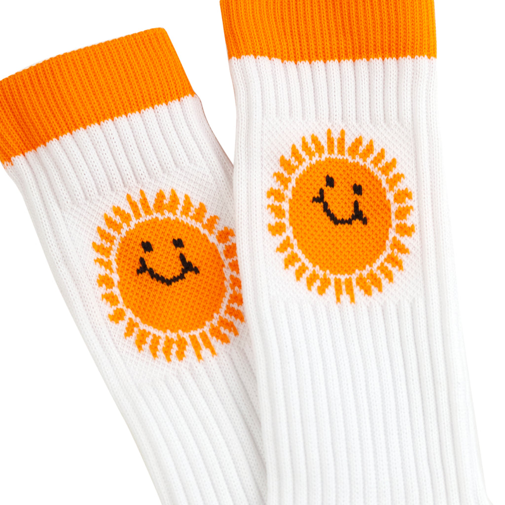 Southsea Bronx Strong Island Socks in White / Orange - Pair