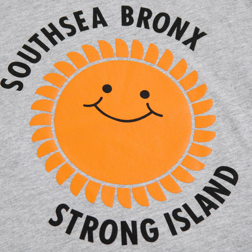 Southsea Bronx Strong Island Kids T Shirt in Heather Grey - Print