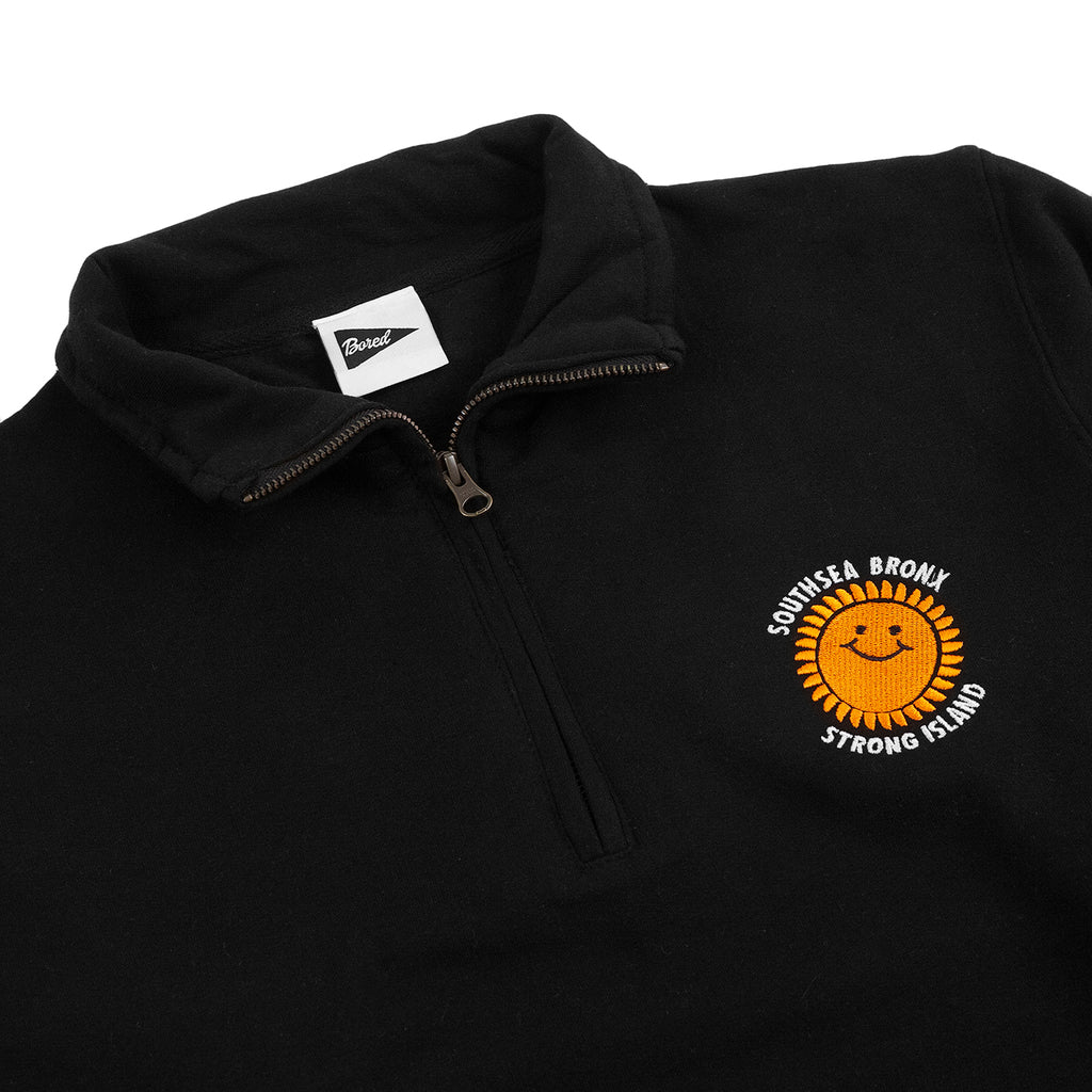 Southsea Bronx Strong Island Embroidered Quarter Zip Sweatshirt - Black