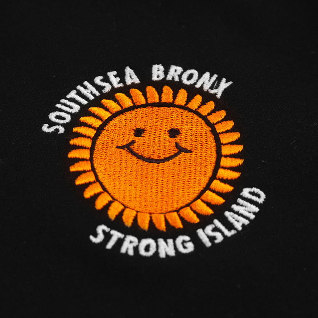 Southsea Bronx Strong Island Embroidered Quarter Zip Sweatshirt in Black - Embroidery