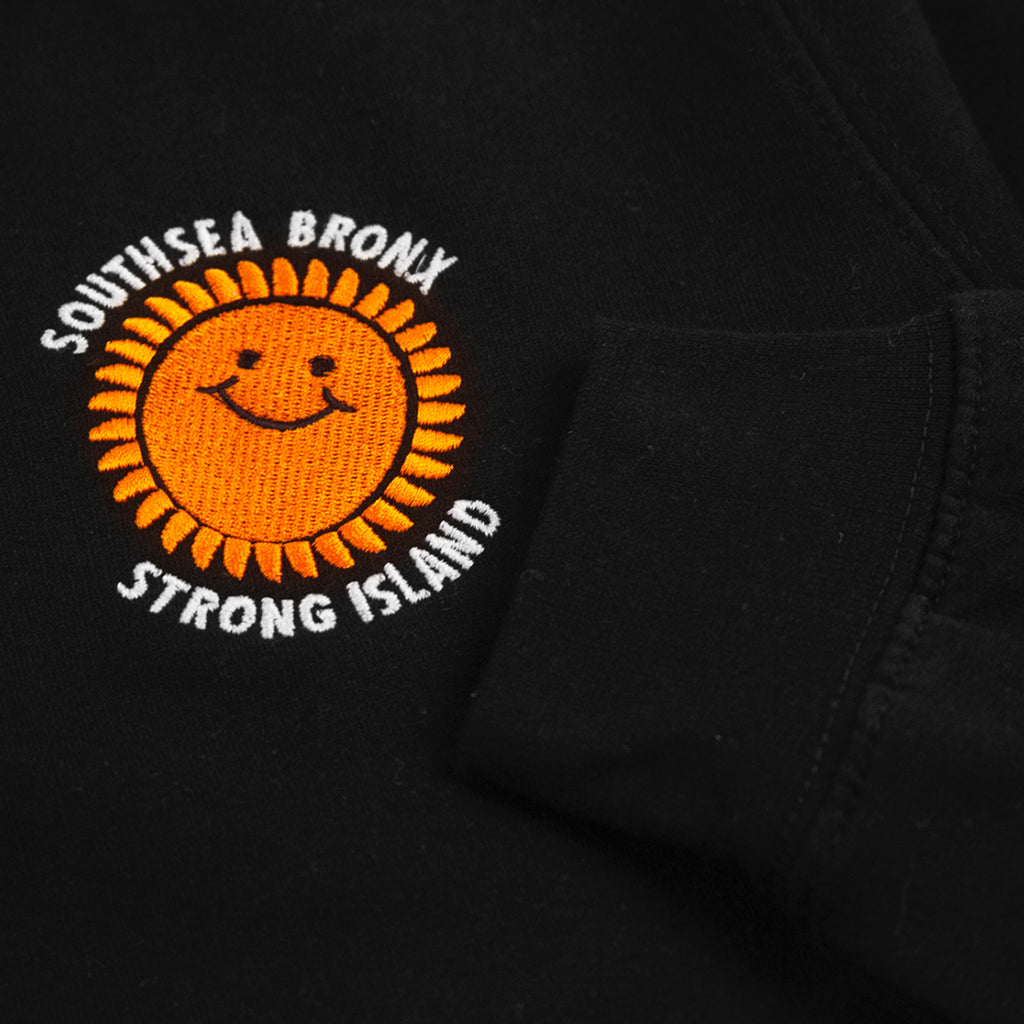 Southsea Bronx Strong Island Embroidered Quarter Zip Sweatshirt in Black - Cuff