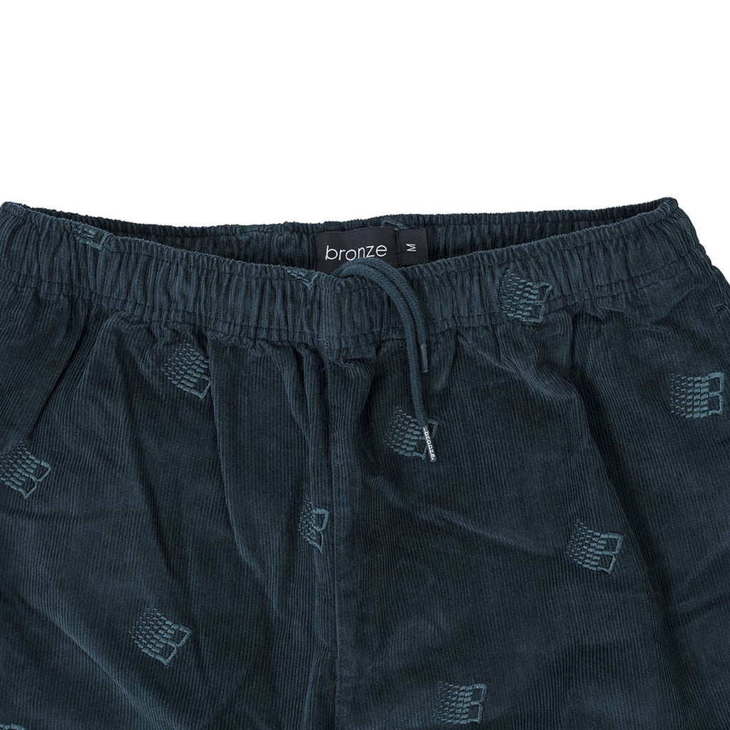 Bronze 56k Embroidered Synch Cord Pants in Dark Teal - Waist