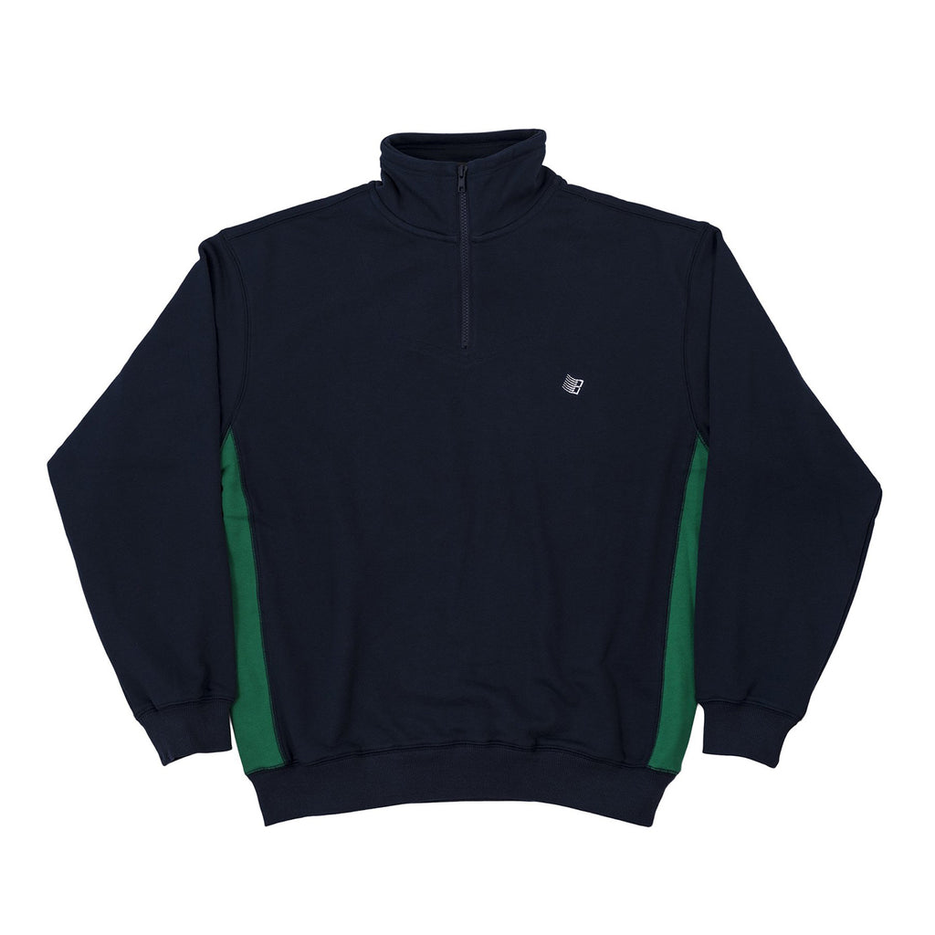 Bronze 56k Mircodose 1/4 Zip Sweatshirt in Navy / Green