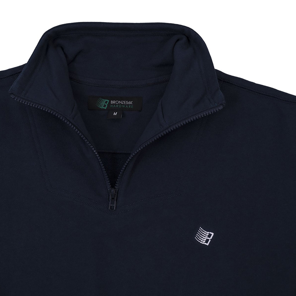 Bronze 56k Mircodose 1/4 Zip Sweatshirt in Navy / Green - Detail