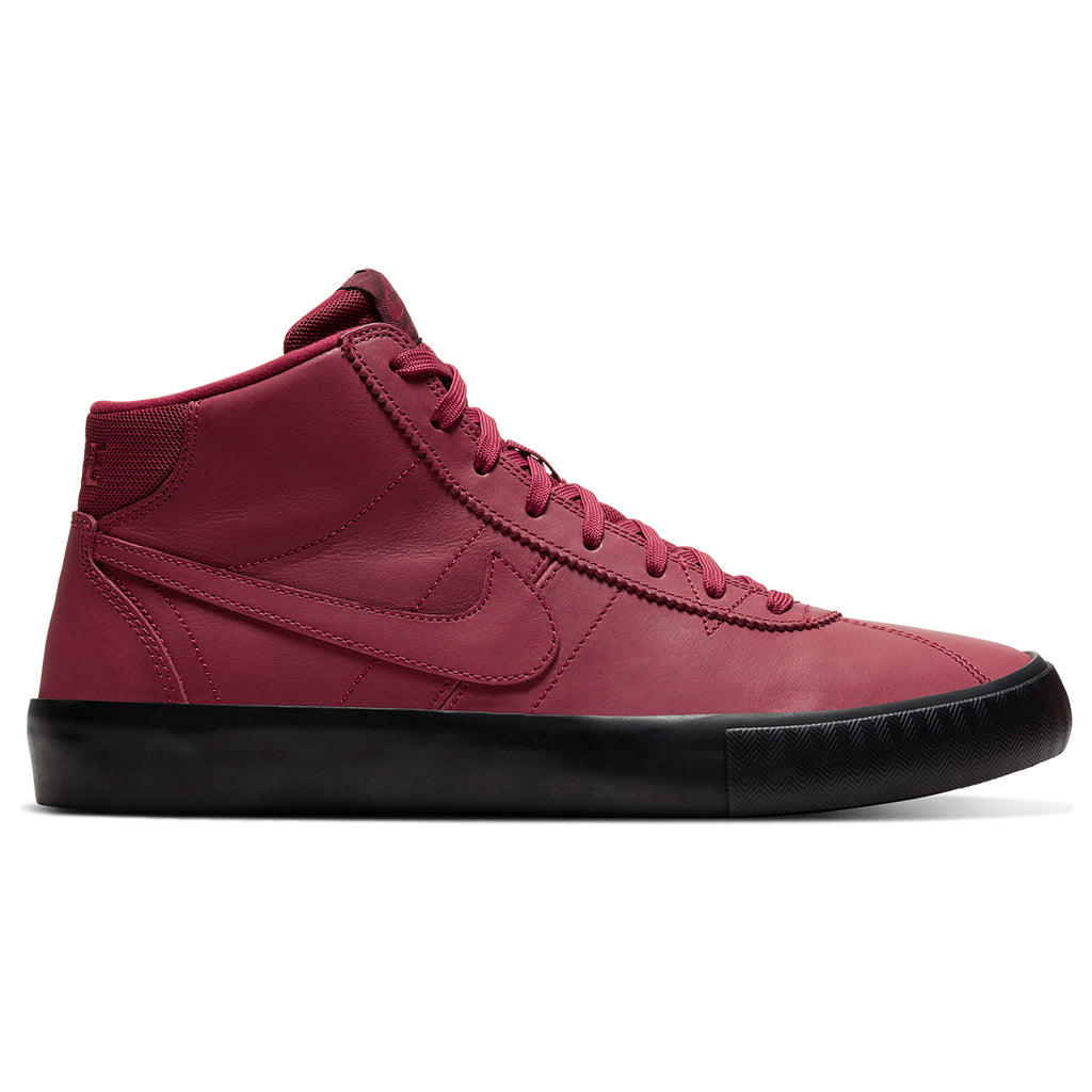 Nike SB Orange Label x Leo Baker Zoom Bruin Hi Shoes in Team Red / Night Maroon - Black