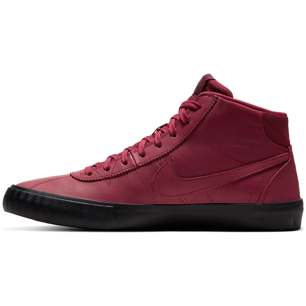 Nike SB Orange Label x Leo Baker Zoom Bruin Hi Shoes in Team Red / Night Maroon - Black - Instep