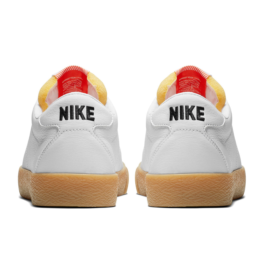 Nike SB Orange Label Zoom Bruin Shoes - White / Black in Safety Orange - Heel