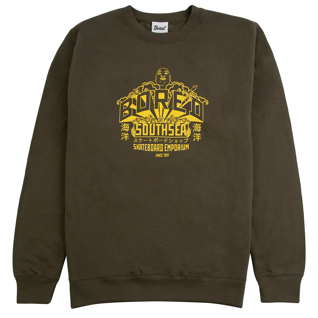 Bored of Southsea Buddha Emporium Sweatshirt in Military Green