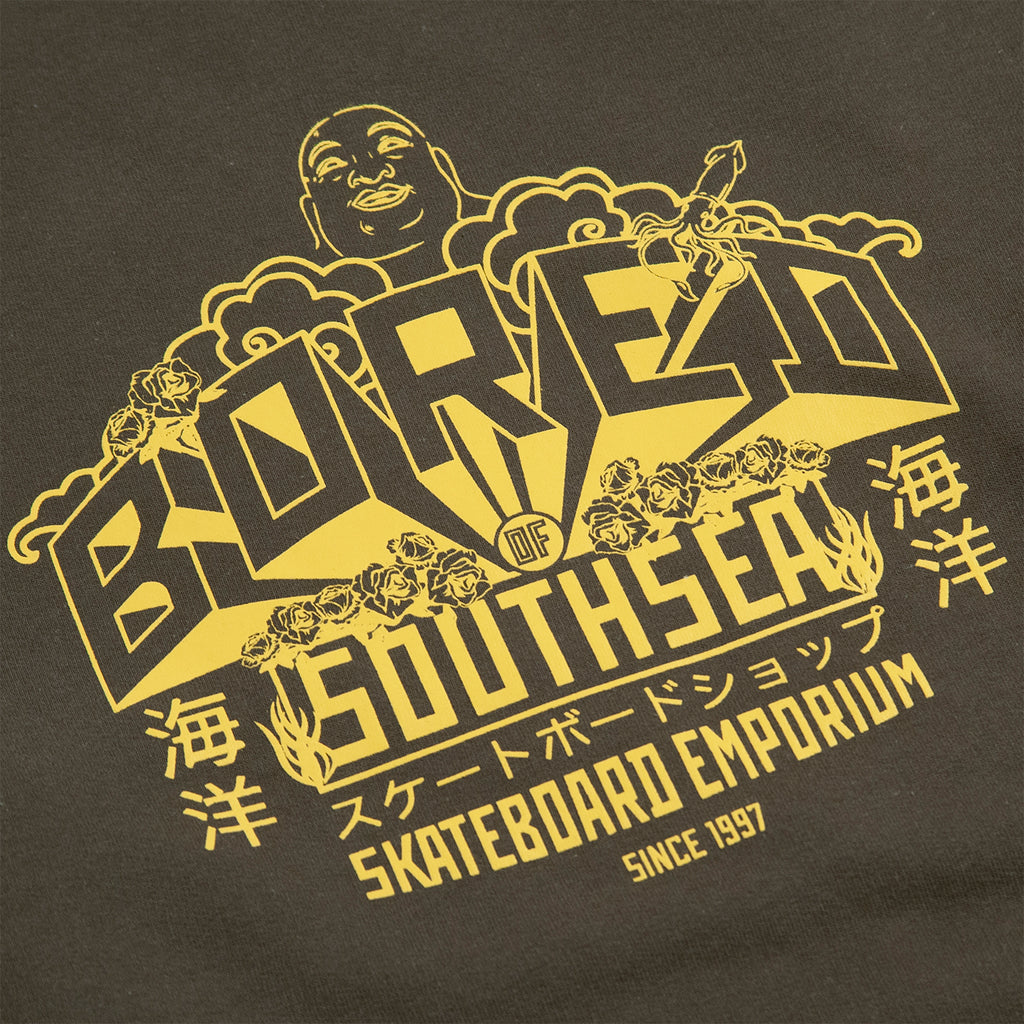 Bored of Southsea Buddha Emporium Sweatshirt in Military Green - Print