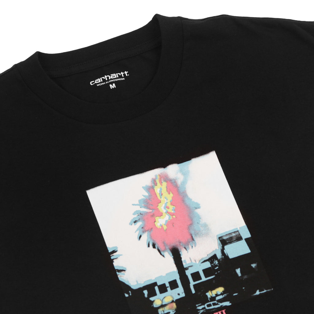 Carhartt Burning Palm T Shirt in Black - Detail