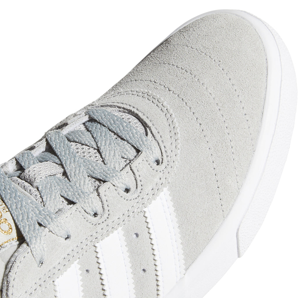 Adidas Busenitz Vulc Shoes in Grey Two / Footwear White / Gold Metallic - Toe Box