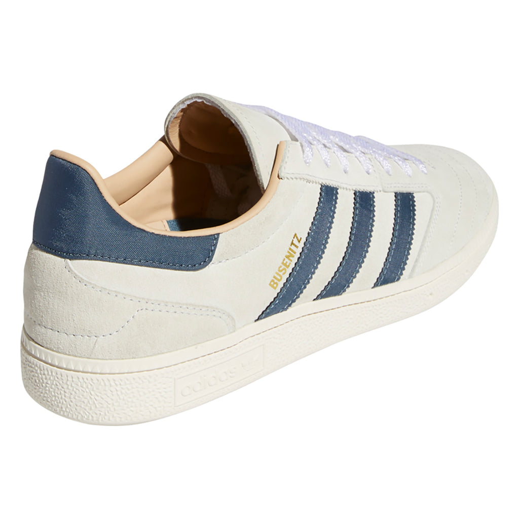 Adidas Skateboarding Busenitz Vintage Shoes in Crystal White / Legacy Blue / Chalk White - Heel
