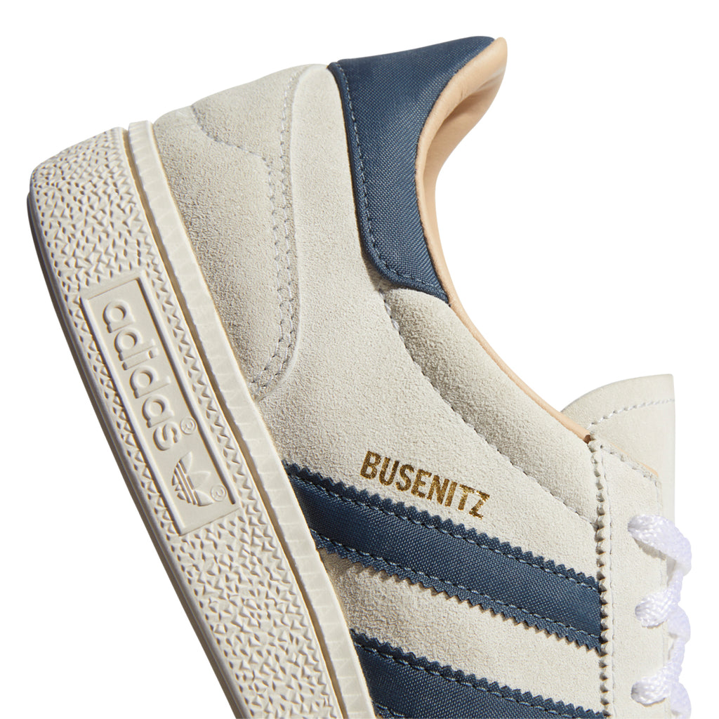 Adidas Skateboarding Busenitz Vintage Shoes in Crystal White / Legacy Blue / Chalk White - Heel 2