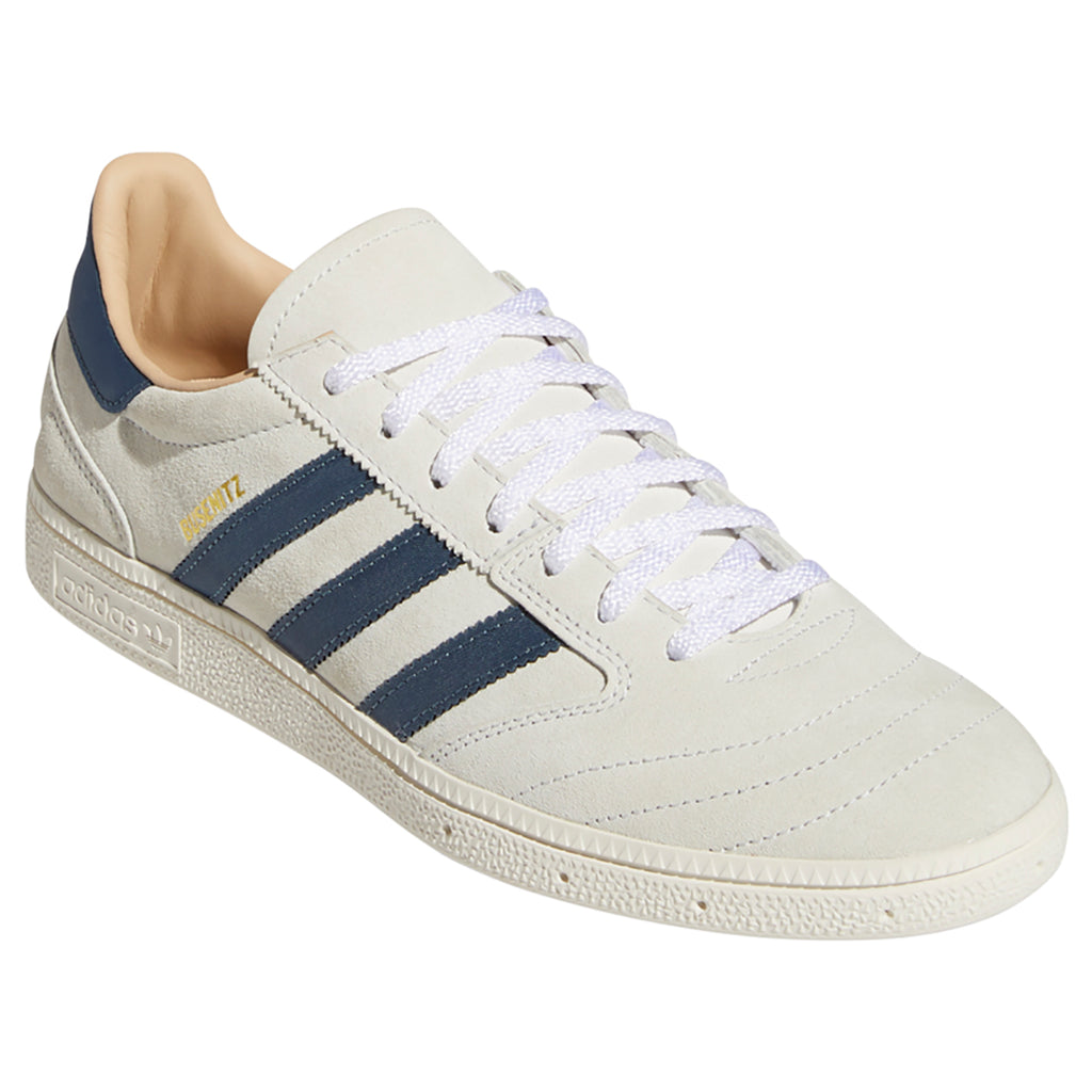 Adidas Skateboarding Busenitz Vintage Shoes in Crystal White / Legacy Blue / Chalk White - Front