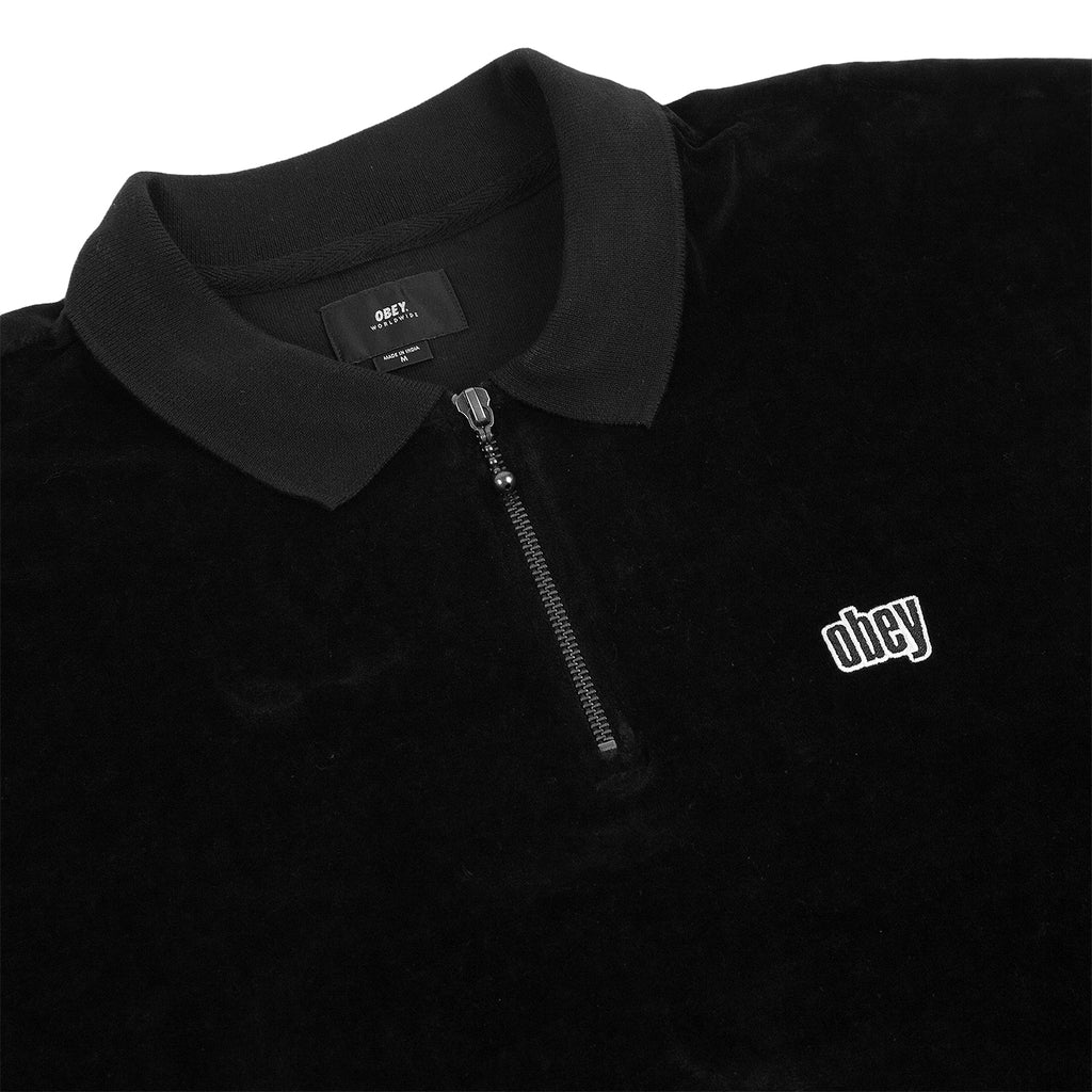 Obey Clothing Buster Classic Polo L/S in Black - Detail