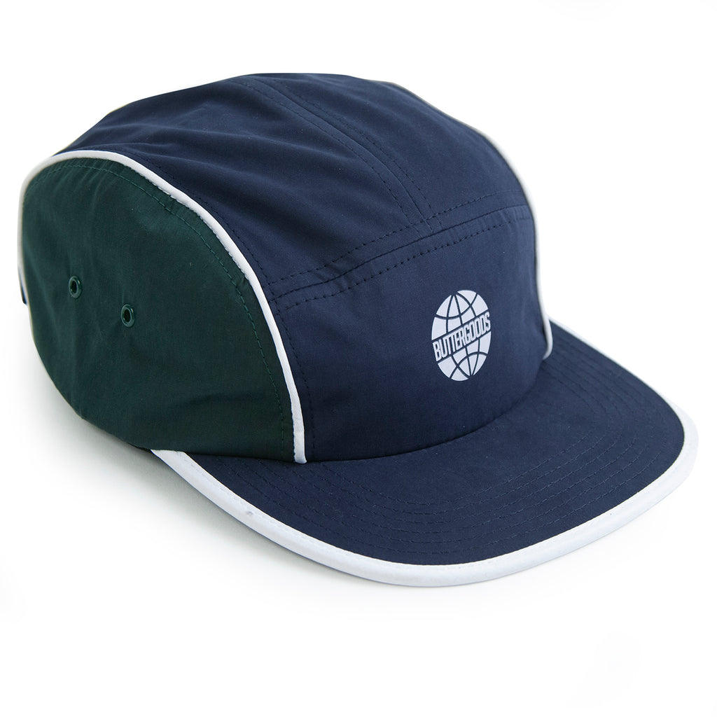 Butter Goods Piping Camp Cap in Navy / Forrest