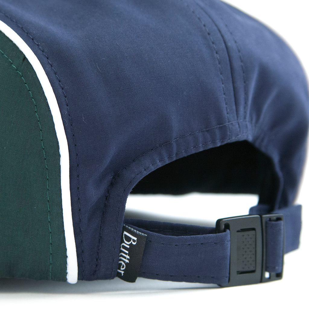 Butter Goods Piping Camp Cap in Navy / Forrest - Strap