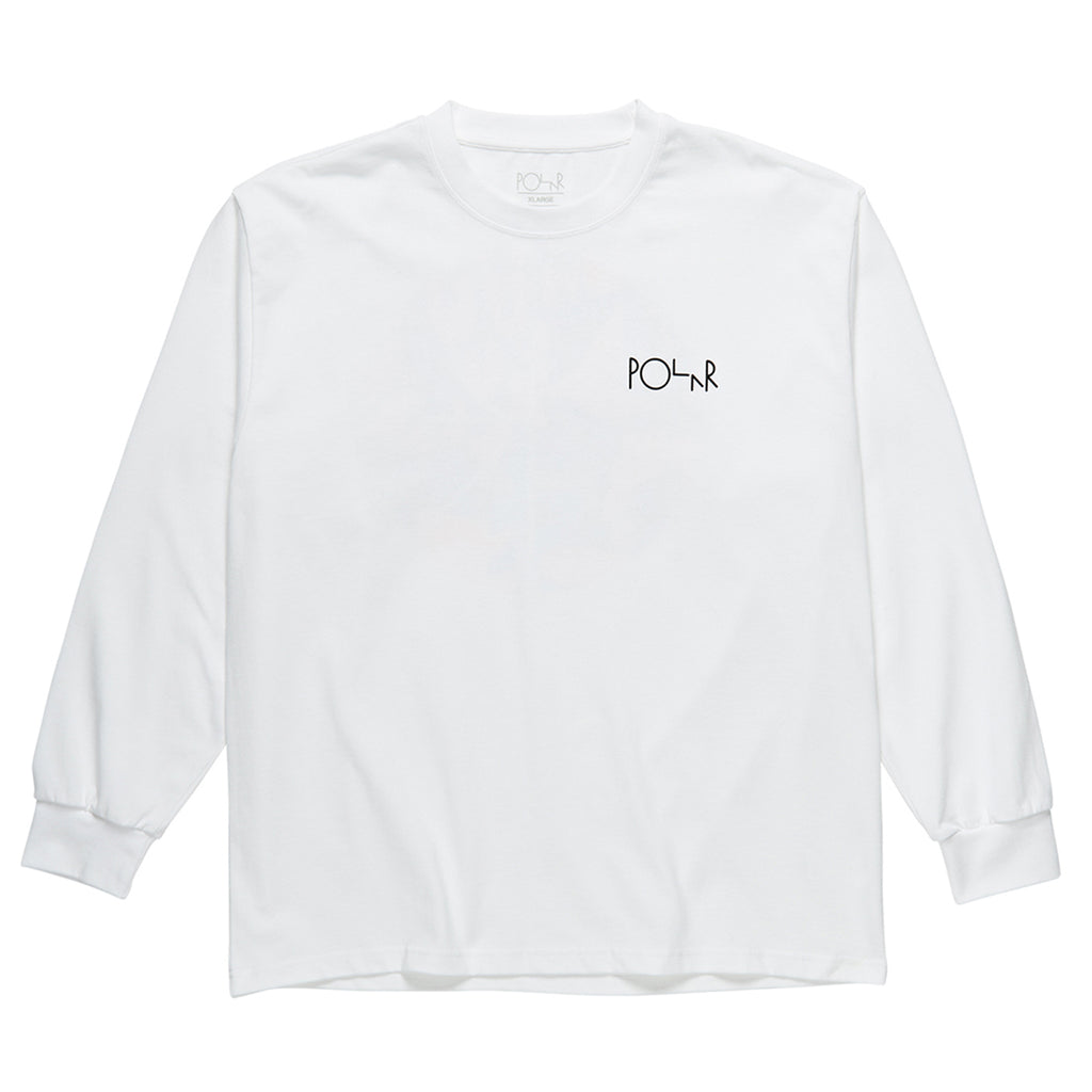 Polar Skate Co L/S Callistemon Fill Logo T Shirt in White - Front