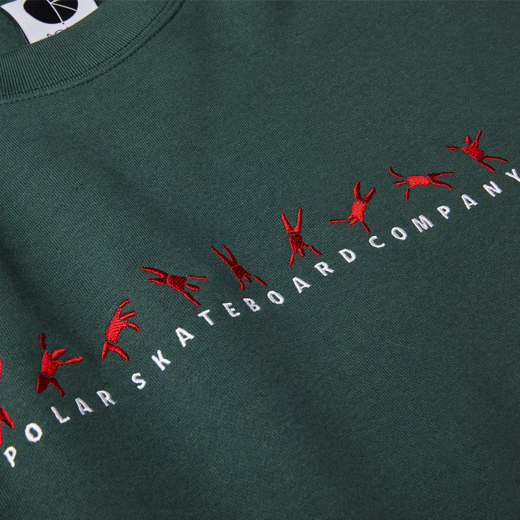 Polar Skate Co Cartwheel Crewneck Sweatshirt in Grey Teal - Detail